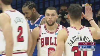 NBA, i 30 punti di Zach LaVine contro Philadelphia