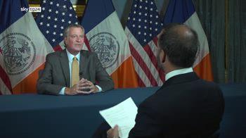 L'intervista del sindaco di New York De Blasio a Sky TG24